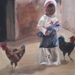 meisje-met-haar-kippen-60x80cm-acryl